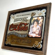 Reclama vintage pe oglinda Coca-Cola 5 cents - serigrafie (33, 5cm x 26cm) - Reclama Tiparita