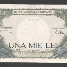 ROMANIA 1000 1.000 LEI 20 martie 1945 fond verde [8] XF - Bancnota romaneasca