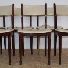 Set 6 scaune din lemn masiv pentru retapitare; Scaun cu spatar