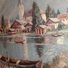 Tablou vechi semnat - Tablou autor neidentificat, Peisaje, Ulei, Realism