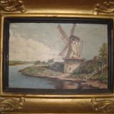 Tablou vechi semnat si datat 1934, Peisaj cu moara olandeza. - Pictor roman, Peisaje, Ulei, Impresionism