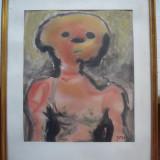 Tablou modern, portret abstract semnat Jorn - Pictor roman, Acuarela