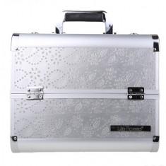 Geanta valiza case manichiura cosmetice manichiuriste make up bag Medie silver - Geanta cosmetice