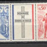 Franta.1971 1 an moarte Ch. de Gaulle:presedinte-streif SF.526 - Timbre straine, Nestampilat