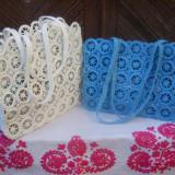 Geanta crosetata din rafie pe inele de plastic - Geanta handmade