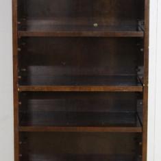 Biblioteca din lemn masiv cu polite reglabile; Dulap; Vitrina;, 1900 - 1949