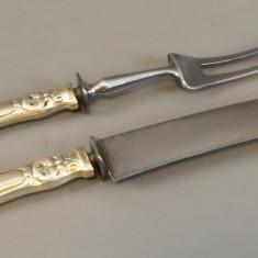 Cutit si furculita - N.M.Thune - Norvegia, metal si argint, Set tacamuri