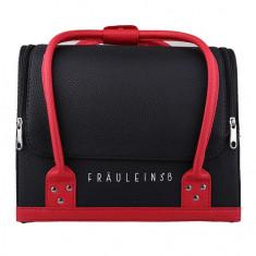 Geanta valiza case manichiura cosmetice manichiuriste make up bag negru + rosu - Geanta cosmetice