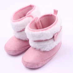 Cizmulite bebelusi roz cu blanita si fundita - Cizme copii