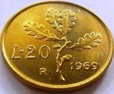 Moneda 20 Lire - ITALIA, anul 1969 *cod 1570 UNC, Europa