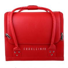 Geanta valiza case manichiura cosmetice manichiuriste make up bag rosie piele - Geanta cosmetice