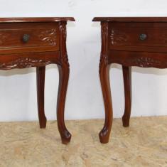 Set 2 noptiere Vintage din lemn masiv de fag; Noptiera cu sertar