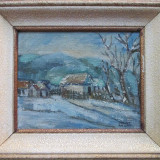 Iarna in sat - semnat August Rieger - Pictor strain, Nud, Pastel, Altul