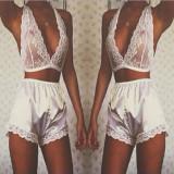 Lenjerie Lady Lust Sexy Alb Dantela Boxeri Bikini Chiloti + Sutien Set 2 Piese, L, S, XL