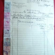 Borderou cu Antet Banca G.M.Eftimiu 1942, 7 timbre fiscale perforate - Hartie cu Antet