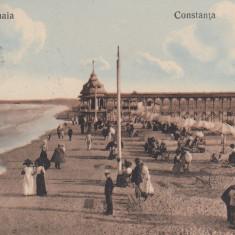 CONSTANTA PLAJA MAMAIA CIRCULATA 1912 - Carte Postala Dobrogea 1904-1918, Printata