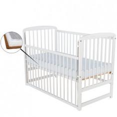 Patut din lemn Ola 120x60 cm cu laterala culisanta Alb + Saltea 9 cm - Patut lemn pentru bebelusi