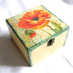 Cutie din lemn - maci - 27766 - Cutie Bijuterii