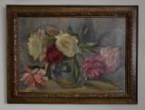 VERA VESLOVSCHI NITESCU ULEI/CARTON  67/48 CM. VAS CU BUJORI SEMNAT DREAPTA JOS, Flori, Realism