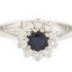 Inel din aur alb 14k cu safir si diamante - Inel aur alb, 46 - 56