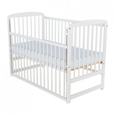 Patut din lemn Ola 120x60 cm cu laterala culisanta Alb - Patut lemn pentru bebelusi
