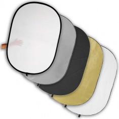 Blenda reflexie-difuzie 5 in 1 difuzie gold silver negru alb ovala 60x90cm - Echipament Foto Studio, Blende foto reflexie