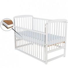 Patut din lemn Ola 120x60 cm cu laterala culisanta Alb + Saltea 10 cm - Patut lemn pentru bebelusi