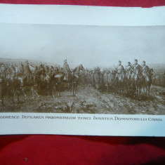 Ilustrata- Pictura- N.Grigorescu -Defilare soldati turci-prizonieri in fataCarol