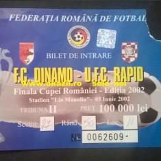 Bilet DINAMO - RAPID Finala Cupei Romaniei 2002 Fotbal