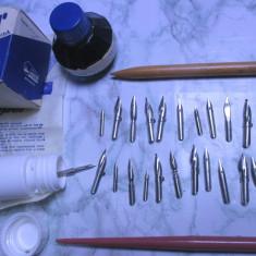 Un lot de 25 penite noi si 2 toc scris calimara cerneala vechi de colectie