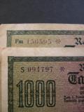 Lot 2 buc. Germania 1000 mark 1922 FORMAT SERIE DIFERITE