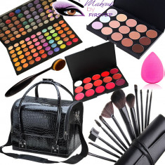 Set kit machiaj trusa profesionala 120 culori MAC + geanta make up ruj fond ten - Fard pleoape