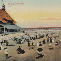 CONSTANTA PLAJA SI UMBRELELE CIRCULATA 1909 - Carte Postala Dobrogea 1904-1918, Printata