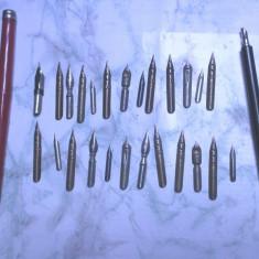 Un lot de 25 penite noi germane si 2 toc scris vechi grafica de colectie