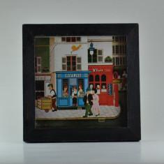 Tablou mic, desen miniatura cu rama si sticla semnat anii 70 - 11.5x11.5cm #385 - Pictor strain, An: 1975, Peisaje, Ulei, Miniatural
