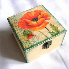 Cutie din lemn - maci - 27769 - Cutie Bijuterii