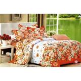 Lenjerie de pat dublu, din bumbac satinat, cu flori portocalii