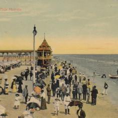 CONSTANTA PLAJA MAMAIA CIRCULATA 1910 - Carte Postala Dobrogea 1904-1918, Printata