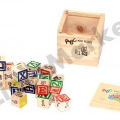 Set cuburi din lemn ABC - Jocuri Forme si culori