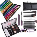 Trusa machiaj 120 culori MAC + kit sprancene + 15 pensule NARS + rimel gene, Mac Cosmetics
