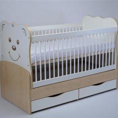 Patut Transformabil Mykids Teddy Natur-Alb Cu Leganare - Patut lemn pentru bebelusi MyKids, 140x70cm, Maro