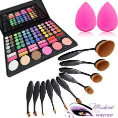 Set machiaj trusa 78 culori MAC + 10 pensule ovale theBalm cosmetics + buretel - Trusa make up