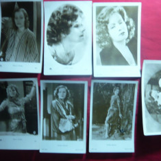 Set 7 ilustrate Actrita Greta Garbo , interbelice, Necirculata, Fotografie