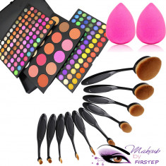 Set machiaj trusa 183 culori MAC+ 10 pensule ovale + beauty blender buretel para - Trusa make up