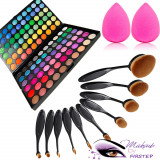 Set machiaj trusa 120 culori MAC + 10 pensule ovale +beauty blender buretel para, Mac Cosmetics