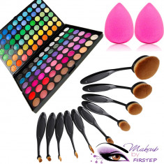 Set machiaj trusa 120 culori MAC + 10 pensule ovale +beauty blender buretel para - Trusa make up