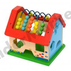 Casuta din lemn cu forme geometrice si numaratoare - Jocuri Forme si culori