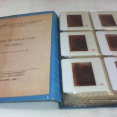 DIAPOZITIVE TEME DE EDUCATIE RUTIERA 10 FILE, 60 BUCATI ANIMAFILM 1984