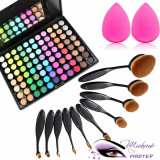 Set machiaj trusa 88 culori MAC + 10 pensule ovale theBalm cosmetics + buretel, Mac Cosmetics
