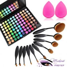 Set machiaj trusa 88 culori MAC + 10 pensule ovale theBalm cosmetics + buretel - Trusa make up
